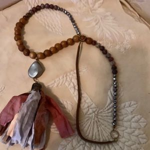 Silver Boho Wood Glass Bead Leather Necklace